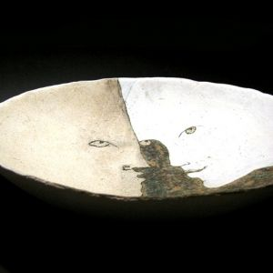 Bowl, with Couple, 30 cm, ceramics with engobes, glazes and oxides